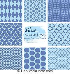 blauwe , set, seamless, motieven, 5, geometrisch, witte