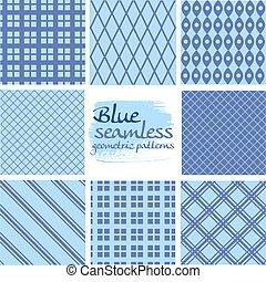 blauwe , set, seamless, motieven, 6, geometrisch, witte