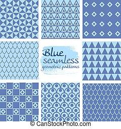 blauwe , set, seamless, motieven, 7, geometrisch, witte