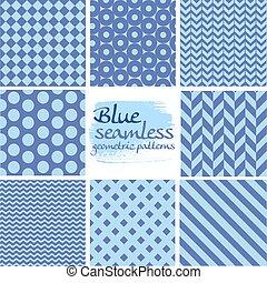 blauwe , set, seamless, motieven, geometrisch, witte