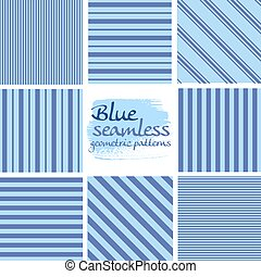 blauwe , set, seamless, motieven, gestreepte , witte , geometrisch