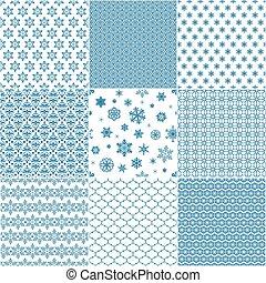 blauwe , set, snowflakes, model, seamless, negen