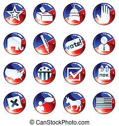 blauwe , set, verkiezing, rood, iconen