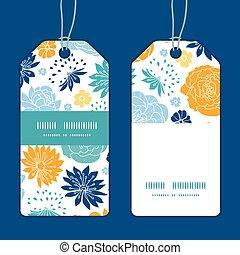 blauwe , set, verticaal, markeringen, model, frame, gele, flowersilhouettes, vector, streep