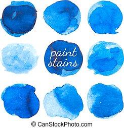 blauwe , set, vlekken, vrijstaand, white., inkt