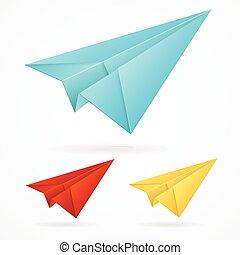 blauwe , set, vliegtuigen, papier, vector, origami, witte