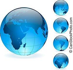 blauwe , set, vrijstaand, achtergrond., vector, bollen, aarde, witte