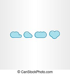 blauwe , set, wolken, eenvoudig, vector, pictogram