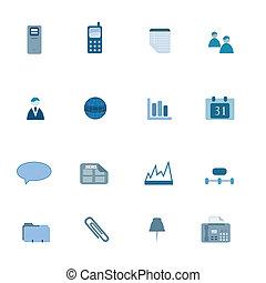blauwe , set, zakelijk, pictogram