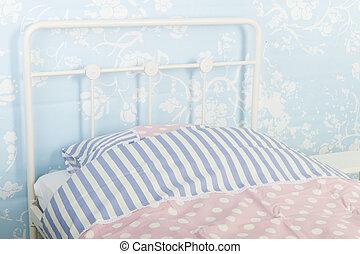 Blauwe , slaapkamer. Blauwe , dubbel, scherm, moderne, -, tijdgenoot ...