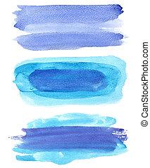 blauwe , slagen, set, watercolor borstelen