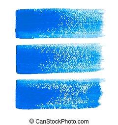 blauwe , slagen, vector, borstel, inkt