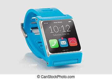 blauwe , smart, horloge, dichtbegroeid boven