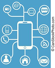 blauwe , smart, telefoon, netwerk, achtergrond