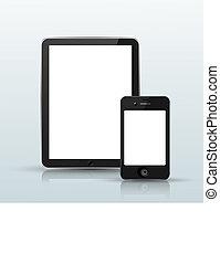 blauwe , smartphone, computer, tablet, achtergrond., vector, eps10