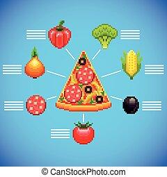blauwe , snede, kunst, ingredienten, achtergrond, infographics, pixel, pizza