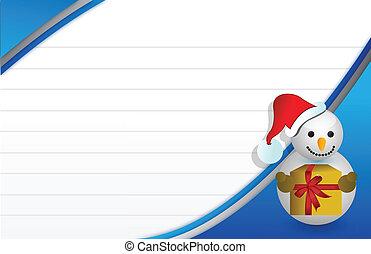 blauwe , sneeuwpop, kerstmis kaart