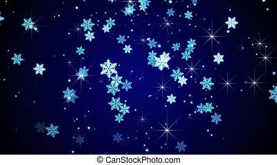 blauwe , snowflakes, animatie, het vallen, lus, gloed
