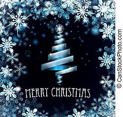 blauwe , snowflakes, boompje, vrolijk, achtergrond, kerstmis