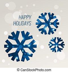 blauwe , snowflakes, groet, bokeh, vector, ontwerp, mal, kaart