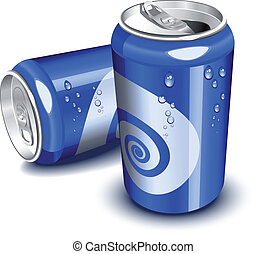 blauwe , soda, blikjes
