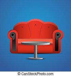 blauwe sofa, tafel, rood, achtergrond.