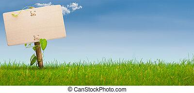blauwe , spandoek, meldingsbord, hemel, groene, horizontaal