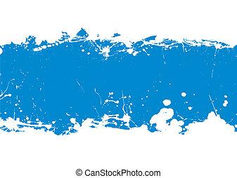 blauwe , spandoek, splat, inkt