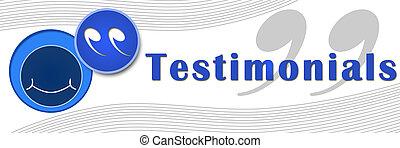blauwe , spandoek, testimonials