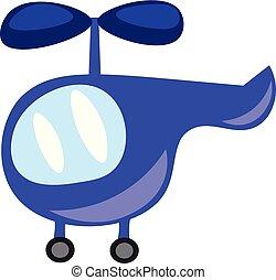 blauwe , speelbal, geitjes, kleur, illustratie, vector, helikopter, of