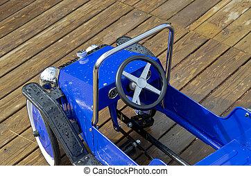 blauwe , speelgoed voertuig