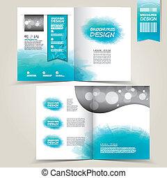 blauwe , spla, watercolor, reclame, mal, informatieboekje