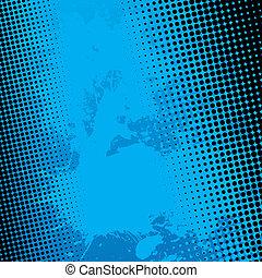 blauwe , splatter, achtergrond, halftone