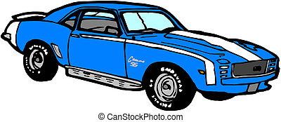 blauwe , sportautootje