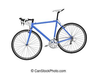 blauwe , sportende, fiets, op wit, achtergrond