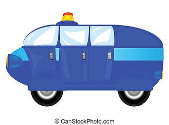 blauwe , spotprent, auto, op wit, achtergrond