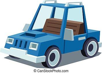 blauwe , spotprent, auto