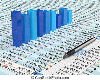 blauwe , spreadsheet, en, pen