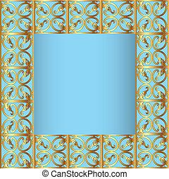 blauwe , staal, frame, achtergrond, gold(en)(en)