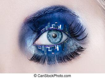 blauwe , stad, oog, macro, makeup, skyline, eyelids, nacht