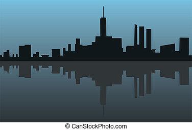 blauwe , stad, pictogram