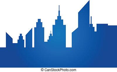 blauwe , stad skyline
