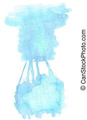 blauwe , stains., geverfde, -, abstract, vlek, textuur, hand, watercolor, achtergrond., watercolour, mal, getrokken, hemel