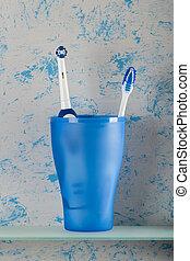 blauwe , stalletjes, handleiding, achtergrond, tandenborstel, glas, elektrisch