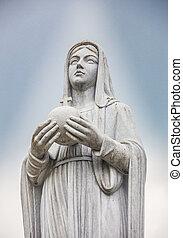 blauwe , standbeeld, hemel, gezegend, maagd, achtergrond, maria