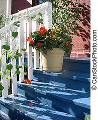 blauwe , stappen, portiek