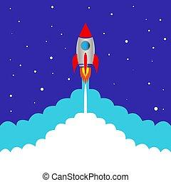 blauwe , start, raket, achtergrond, ruimte