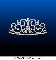 blauwe , stenen, diamant, prinsessenkroon