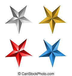 blauwe ster, goud, sterretjes, zilver, rood