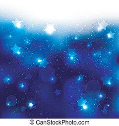 blauwe ster, het fonkelen, achtergrond, viering